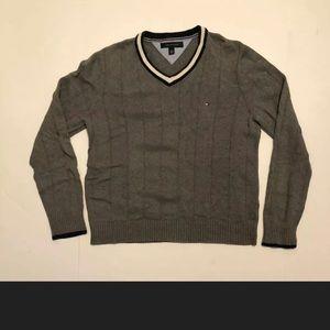 Tommy Hilfiger V Neck Sweater Pullover Grey Size M